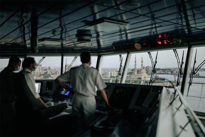 Le capitaine Taylor Perez a effectué la traversée du canal de Suez à bord du Global Mercy.